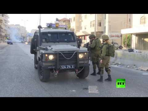 اليمن اليوم- شاهد الجيش الإسرائيلي يستخدم الغاز المسيل للدموع ضد المتظاهرين
