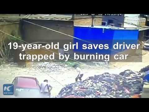اليمن اليوم- شاهد شجاعة فتاة تنقذ قائد سيارة من الموت بأعجوبة