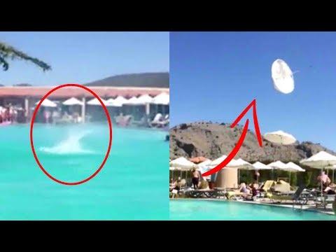 اليمن اليوم- شاهد إعصار صغير يستعرض قوته أمام رواد حمام سباحة في اليونان