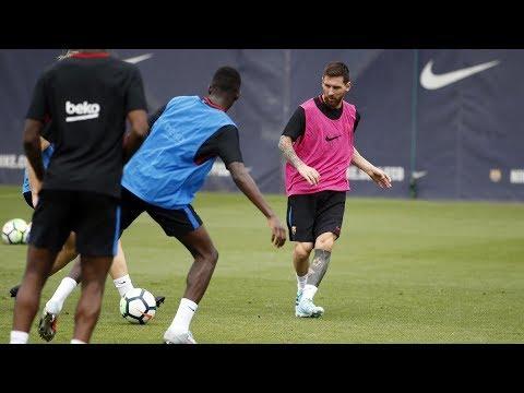 شاهد عثمان ديمبلي يتدرب لأول مرة مع ميسي
