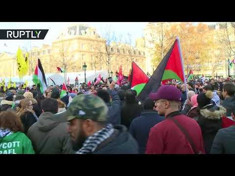 شاهد تظاهرات في فرنسا رفضا لزيارة نتنياهو إلى فرنسا