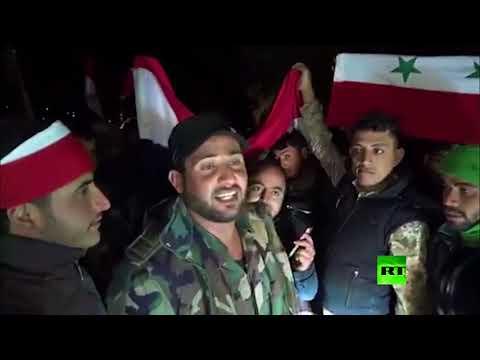 شاهدأهالي عفرين يستقبلون القوات الموالية للجيش السوري