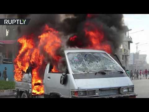 شاهد اشتباكات عنيفة خلال احتجاجات ضد الحكومة في هايتي