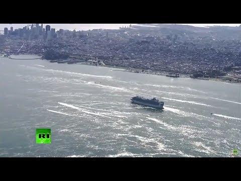 شاهد سفينة موبوءة بـكورونا ترسو في ميناء أوكلاند الأميركي