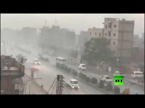 شاهد أمطار صيفية غزيرة في مدينة القامشلي