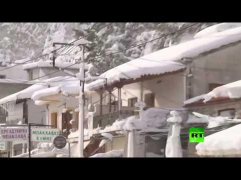 اليمن اليوم- عواصف ثلجية تجتاح مناطق متفرقة في اليونان