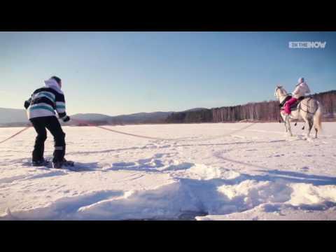 اليمن اليوم- بالفيديو  عشاق التزلج يستغلون الأحصنة في روسيا