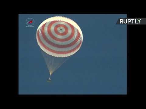 اليمن اليوم- بالفيديو 3 رواد فضاء يعودون إلى الأرض من المحطة الدولية