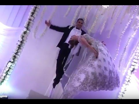 اليمن اليوم- شاهد ساحر تونسي يطير بعروسه في حفلة الزفاف