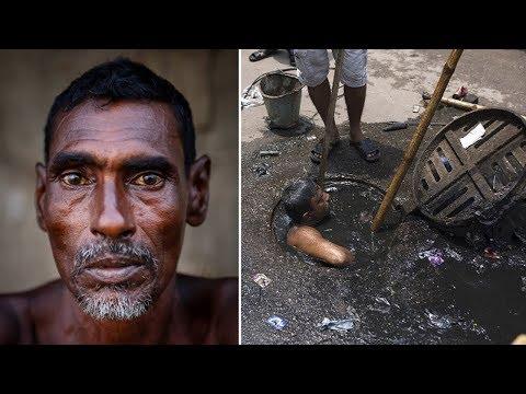 اليمن اليوم- شاهد شخص يختبئ في المجاري بسبب الإحراج من عمله