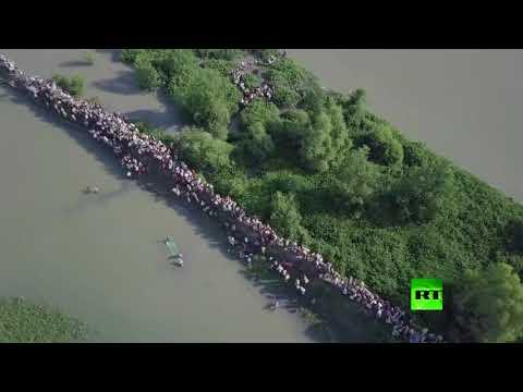 اليمن اليوم- شاهد طائرة من دون طيار تراقب نزوح الآلاف من الروهينغا من ميانمار