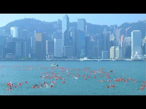 شاهد 3 آلاف سباح يشاركون في سباق هونغ كونغ السنوي