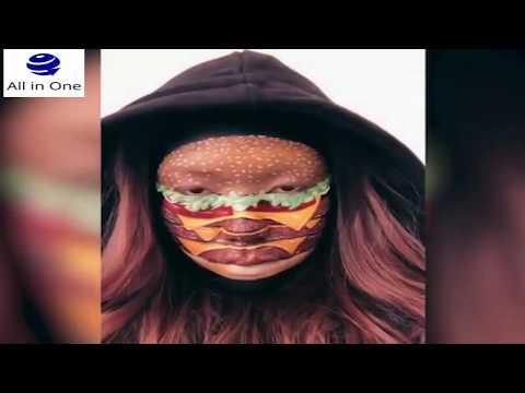 شاهد فتاة تحول وجهها إلى وجبات سريعة