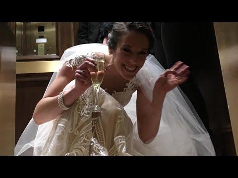 بالفيديو لقطات طريفة لعروس عالقة داخل أسانسير