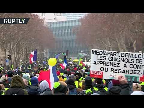 شاهدالسترات الصفراء يستأنفون احتجاجهم لأسبوعهم العاشر