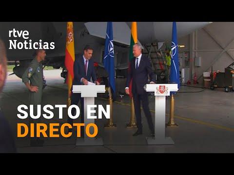 شاهد  لحظة هلع  أوروبية  بعد تحليق مقاتلتين روسيتين فوق مؤتمر لرئيس وزراء إسبانيا